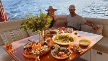 Iluka boat rear deck dining